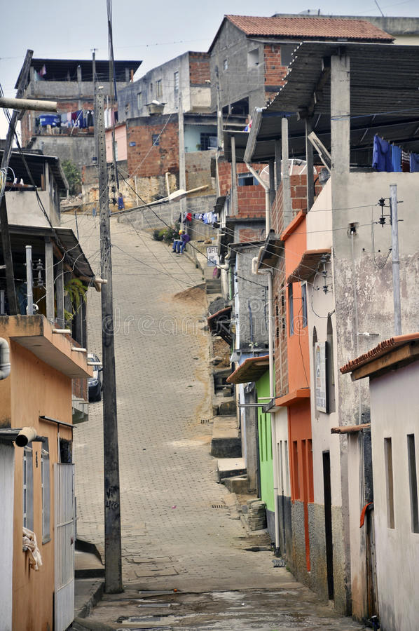 Favela. A favela view with its typical houses, a fully urban disorder stock photos