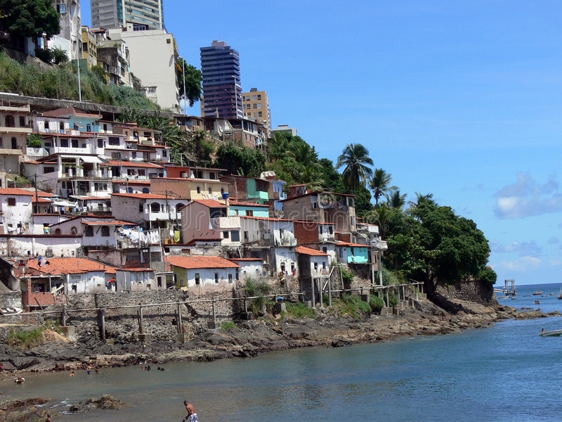 Favela. Brazilian Favela poverty with a great landscape royalty free stock images