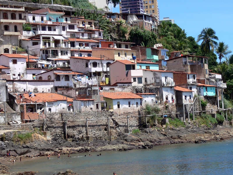 Favela. Brazilian Favela poverty with a great landscape royalty free stock photo