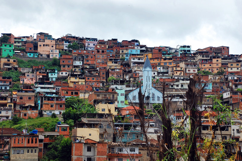 Favela. A favela view with its typical houses royalty free stock photos