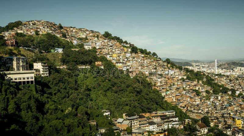 Favela Morro dos Prazeres在里约热内卢,巴西 免版税库存照片