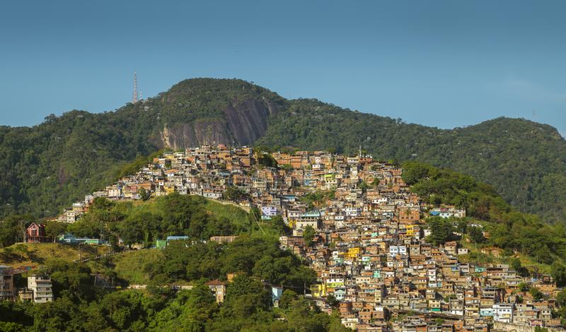 Favela Morro dos Prazeres在里约热内卢,巴西 免版税库存图片