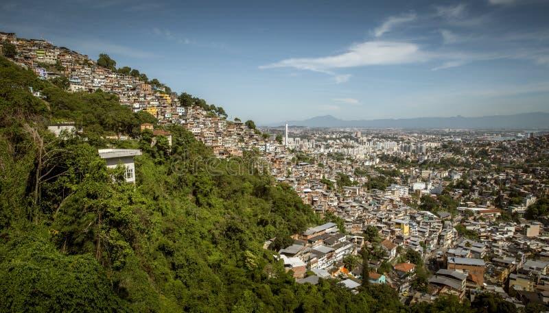 Favela Morro dos Prazeres在里约热内卢 免版税库存图片