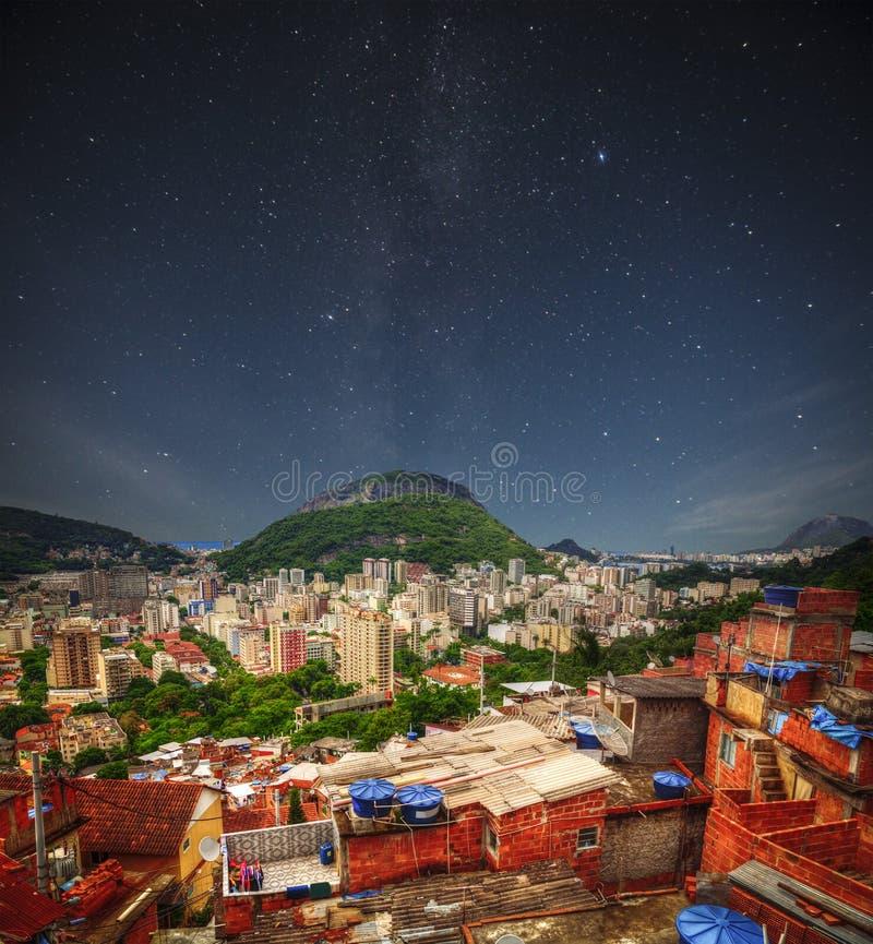Favela night. Rio de Janeiro Slums at Night royalty free stock photography