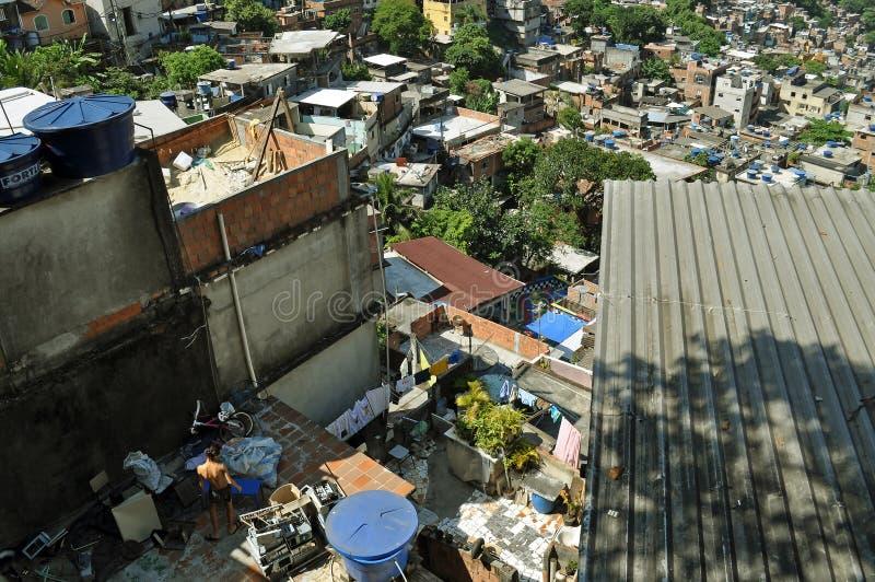 Favela Rocinha. Rio De Janeiro. Brazil. RIO DE JANEIRO, BRAZIL - FEB 7: Favela Rocinha on Feb 7, 2010. Rocinha is the largest favela in Brazi. About 70000 stock photo