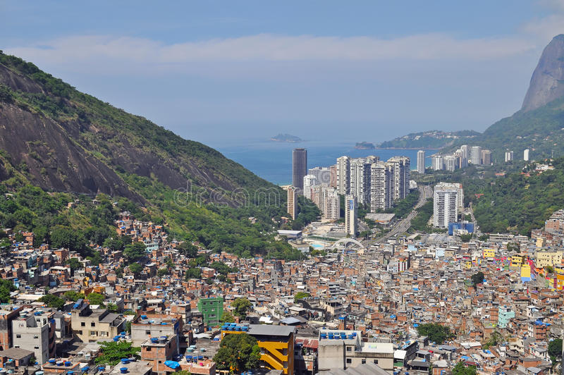 Favela Rocinha. Rio De Janeiro. Le Brésil. images libres de droits