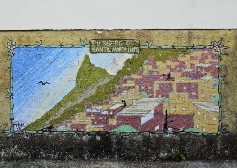 Favela Santa Marta in Rio de Janeiro. Brazil, City of Rio de Janeiro, Mural painting inside of the Favela Santa Marta stock photo