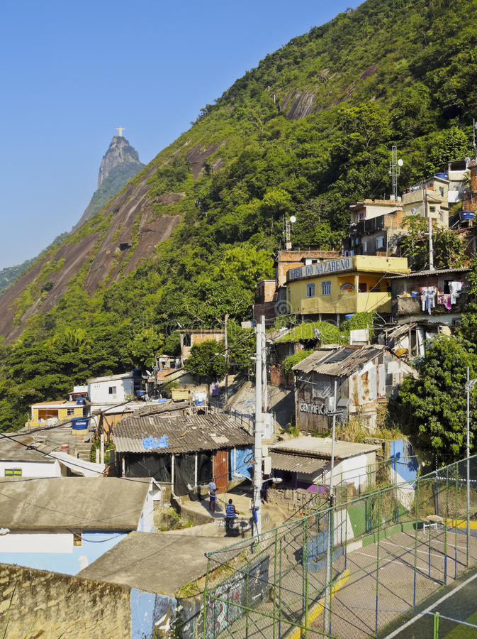 Favela Santa Marta in Rio de Janeiro. Brazil, City of Rio de Janeiro, View of the Favela Santa Marta with Corcovado and the Christ Statue behind stock images