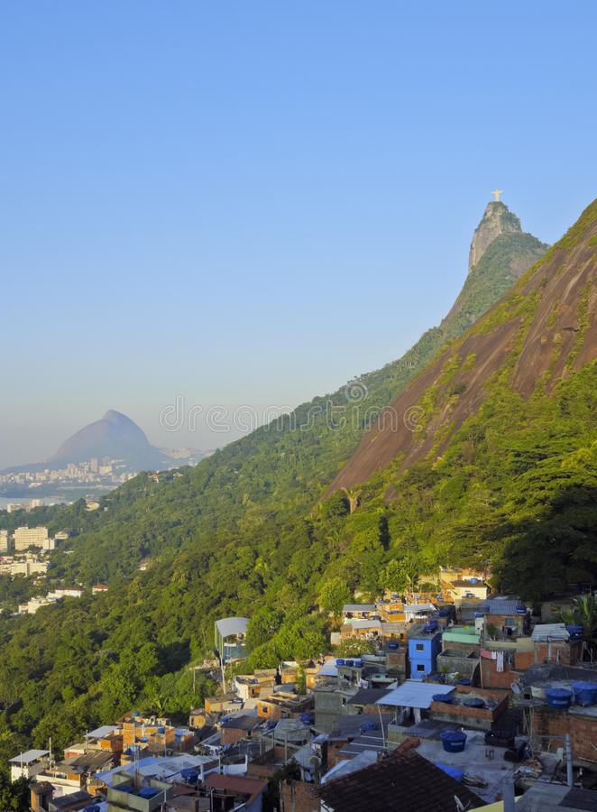Favela Santa Marta in Rio de Janeiro. Brazil, City of Rio de Janeiro, View of the Favela Santa Marta with Corcovado and the Christ Statue behind royalty free stock images