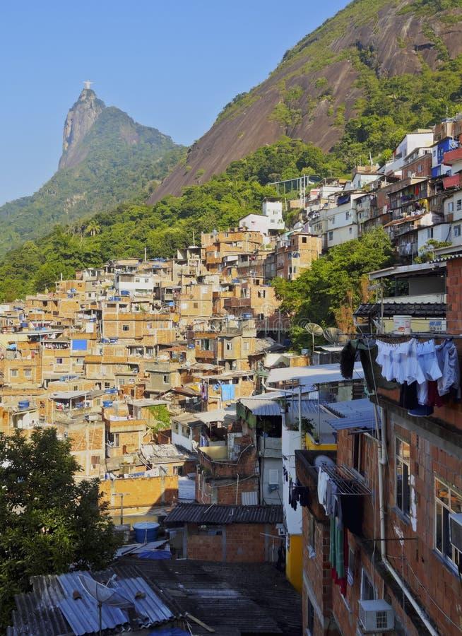 Favela Santa Marta in Rio de Janeiro. Brazil, City of Rio de Janeiro, View of the Favela Santa Marta with Corcovado and the Christ Statue behind royalty free stock photos