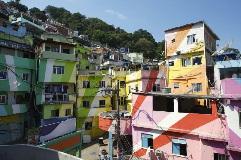 Favela Santa Marta Rio de Janeiro Brazil. Colorful painted buildings of Favela Santa Marta in Rio de Janeiro Brazil stock photos