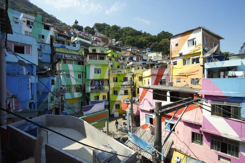 Favela Santa Marta Rio de Janeiro Brazil. Colorful painted buildings of Favela Santa Marta in Rio de Janeiro Brazil royalty free stock photos