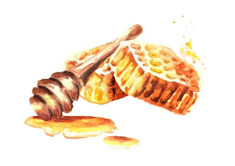 Favi freschi con la composizione nel merlo acquaiolo del miele Illustrazione disegnata a mano dell'acquerello illustrazione di stock