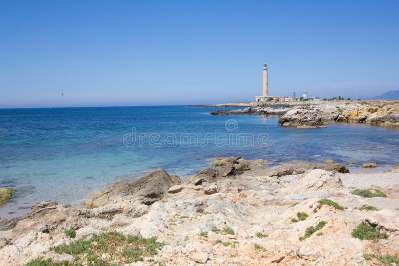 Favignana lighthouse. A view of the Favignana lighthouse Sicily,Italy royalty free stock image