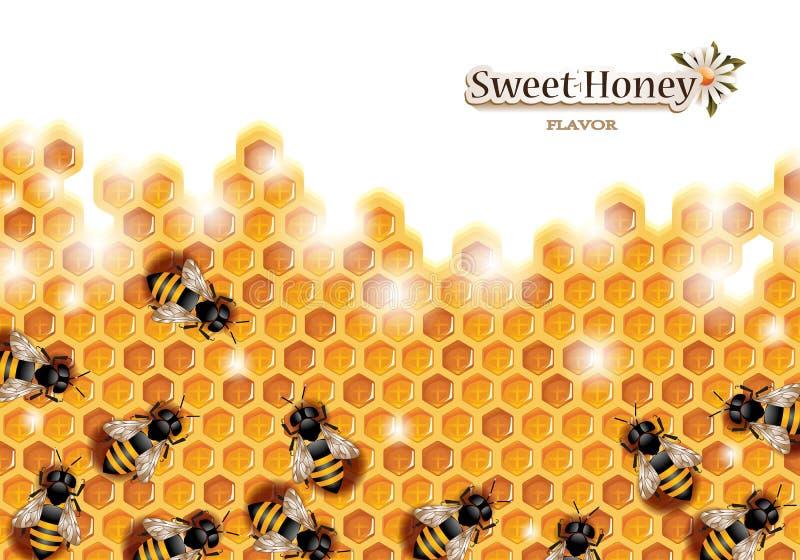 Favo de mel com abelhas de trabalho ilustração stock