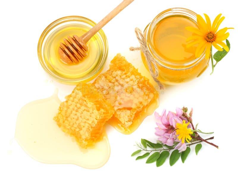 Favo de mel com dipper do mel e mel isolado no fundo branco imagens de stock royalty free