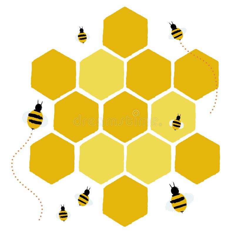 Favo de mel e abelhas ilustração royalty free