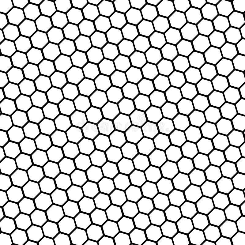 Favo esagonale di base in bianco e nero di forma 003 illustrazione di stock