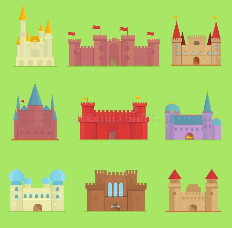 Favola sveglia della casa di fantasia dell'illustrazione di architettura del fumetto dell'icona della torre del castello di vetto illustrazione di stock