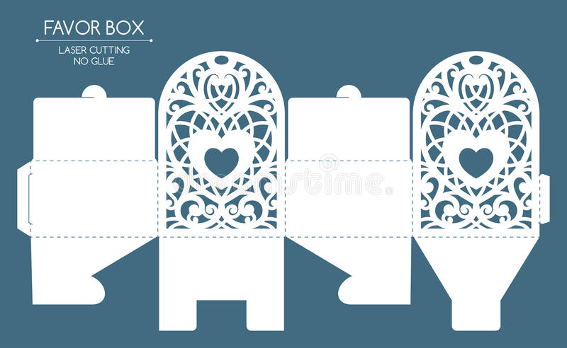 Favor box laser cut vector illustration