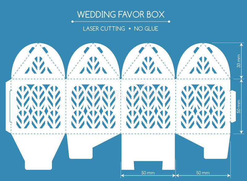 Favor box laser cut stock illustration