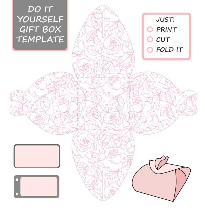 Favor, caixa de presente cortada Molde da caixa com teste padrão cor-de-rosa ilustração royalty free