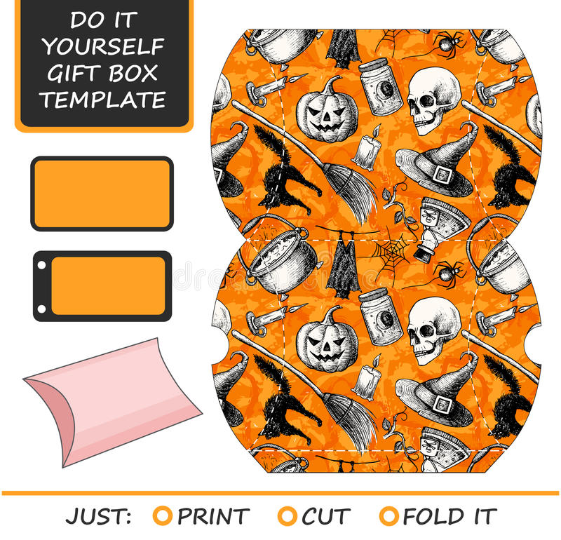 Favor gift box die cut box template with halloween pattern stock download favor gift box die cut box template with halloween pattern stock vector solutioingenieria Images