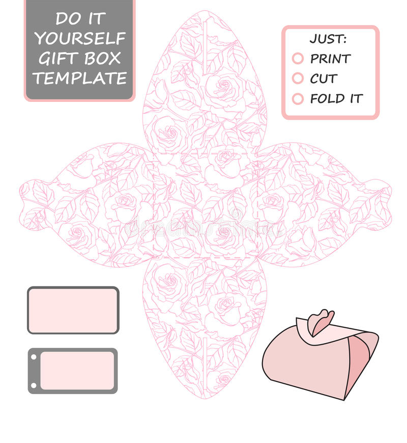 favor gift box die cut box template with rose pattern stock vector illustration of gift. Black Bedroom Furniture Sets. Home Design Ideas