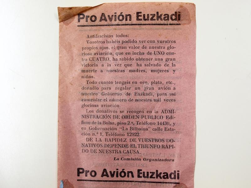 Favorable aeroplano del folleto para Euzkadi Guerra civil española imagen de archivo libre de regalías