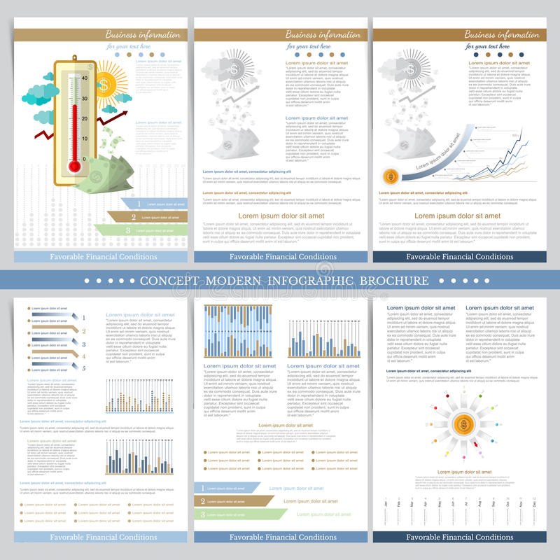 Favorable financial conditions. Two sides of business tri fold and flyer. Infographics elements in modern flat concept business st stock illustration