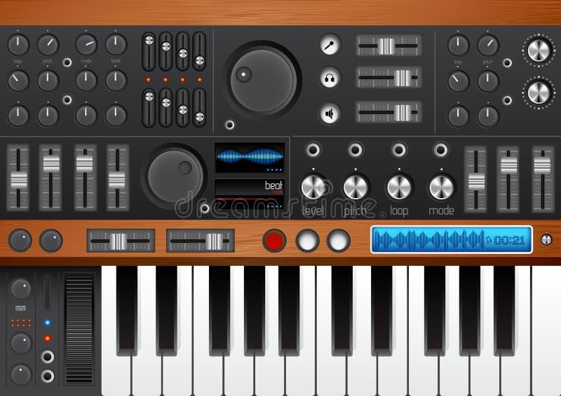 Favorable interfaz del sintetizador de la música stock de ilustración