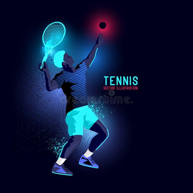 Favorable vector de neón del jugador de tenis ilustración del vector