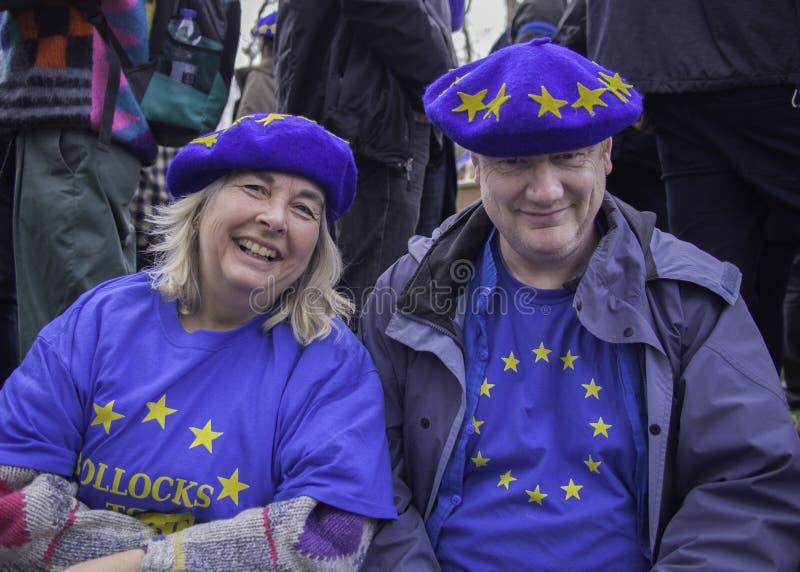 Favorables pares de la UE durante la demostraci?n anti de Brexit en Londres, marzo de 2019 imagen de archivo