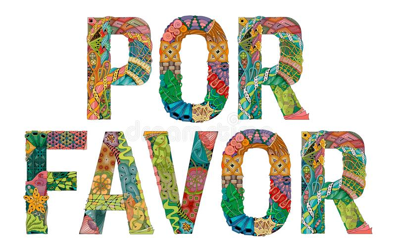 FAVORE di parole POR Prego nello Spagnolo Oggetto decorativo dello zentangle di vettore illustrazione vettoriale