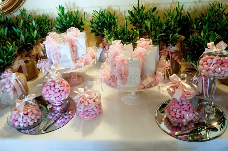 Favores para as cerimônias, confetes para o batismo fotografia de stock royalty free