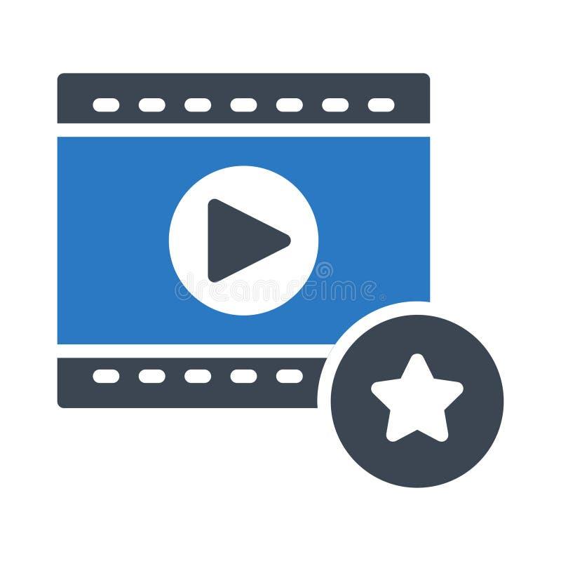 Favoriet de kleuren vectorpictogram van filmstrip videoglyph vector illustratie