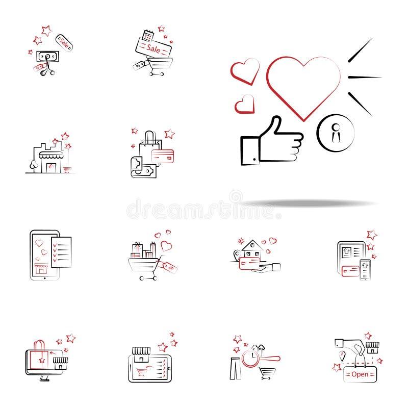 Favoriet, zoals pictogram Het winkelen voor Web wordt geplaatst dat en mobiel pictogrammenalgemeen begrip vector illustratie