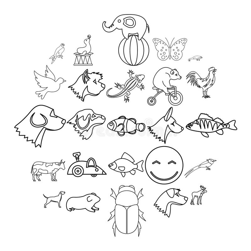 Favorite animal icons set, outline style. Favorite animal icons set. Outline set of 25 favorite animal vector icons for web isolated on white background stock illustration