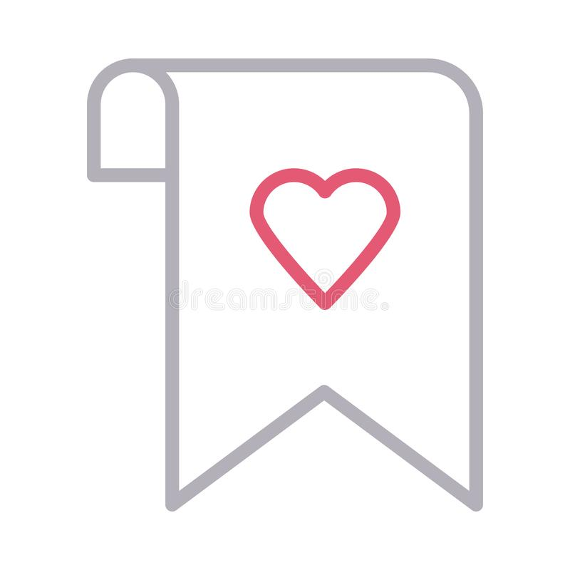 Favorite bookmark tag thin color line vector icon royalty free illustration