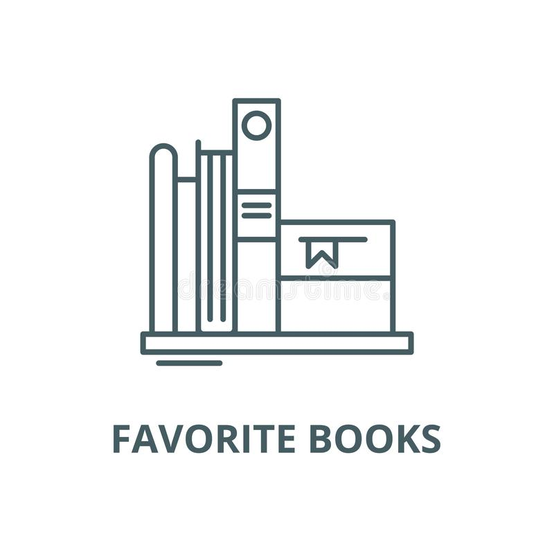 Favorite books vector line icon, linear concept, outline sign, symbol royalty free illustration