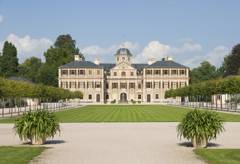 Favorite Castle. Schloss Favorite is one of the wonderful examples of late 17th century architecture. Situated in a great park it shows the influences of garden royalty free stock photography