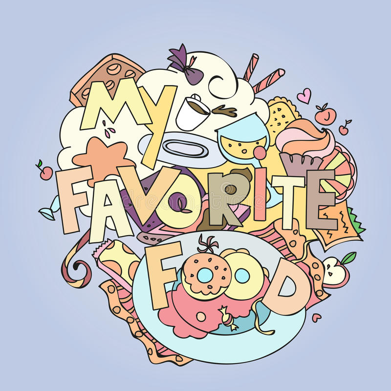 Favorite food confections sweets, cakes and. Cookies vector illustration vector illustration
