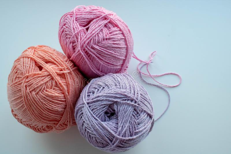 Colored balls of yarn for knitting stock photo