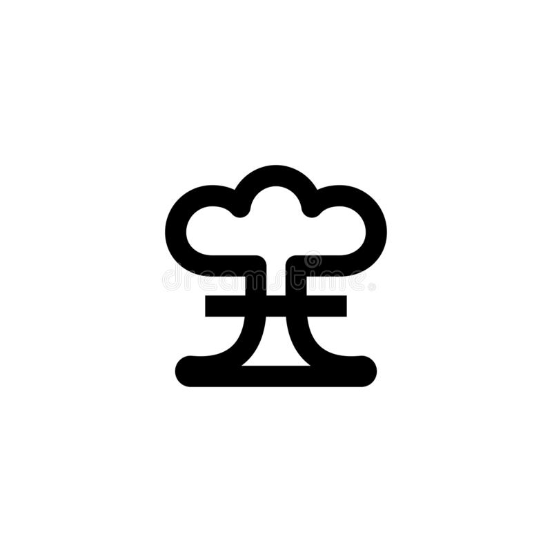 Atom bomb icon. Nuclear sign stock images