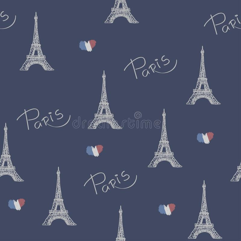 Favorite Paris. Vector illustration with the image of the Eiffel Tower. Seamless Pattern. royalty free illustration
