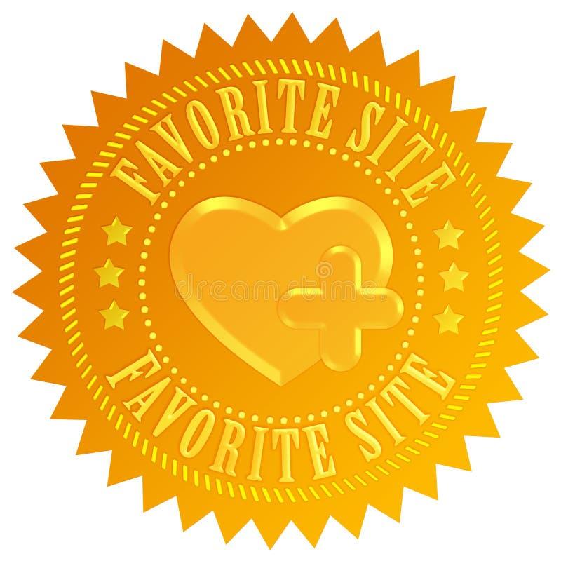 Favorite site. Emblem over white stock illustration