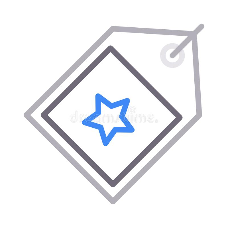 Favorite tag thin color line vector icon. Favorite tag vector icon. Elements for mobile concept and web apps. Thin line icons for website design and development stock illustration