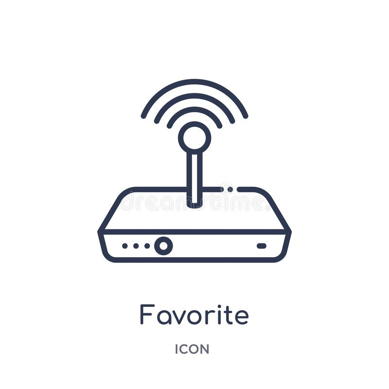 favorite wireles conecction icon from shapes outline collection. Thin line favorite wireles conecction icon isolated on white royalty free illustration