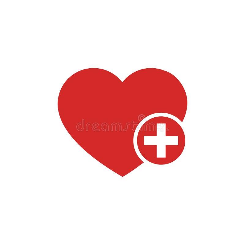 Favoritensymbol mit Symbol plus Favoritensymbol, Herz-Plus-Zeichen, Lesezeichen-Symbol, Knopfvektor-Abbildung in Weiß lizenzfreie abbildung