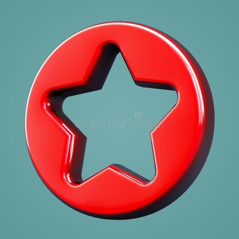 Favoritos volumétricos do ícone Símbolo da estrela ilustração do vetor